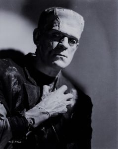 Black and white of Frankenstein for Chicago Jung Institute Summer Intensive